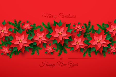 Vector Red Christmas tree made of 3d layered Poinsettia Flower in paper cut style on red background. Happy New year and merry Christmas greeting card design template