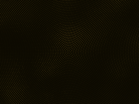 Abstract black background with golden glitter halftone ornament. Template background with stamped dotted pattern. Creative cover decorative design element.