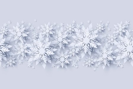Vector Merry Christmas and Happy New Year seamless pattern decoraton design with 3d white realistic layered paper cut snowflakes. Seasonal holidays background Stock Photo