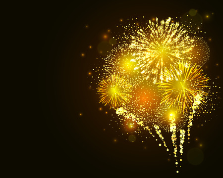 Vector golden fireworks explosion on dark background. New Year celebration firework Stock Illustratie