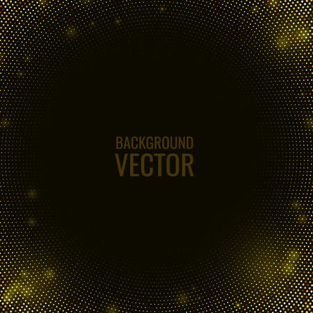 Abstract black textured background with golden radial glitter halftone dotted pattern. Vector design element with stamped gold ornament.