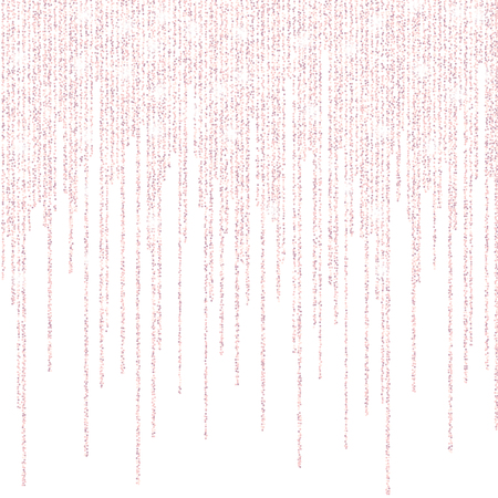 Vector falling in lines gold rose glitter confetti dots rain. Pink garland lights isolated on white background. Sparkling glitter border, party tinsels shimmer frame, holiday background design