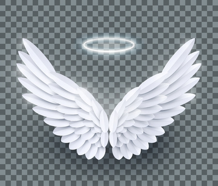 Vector 3d white realistic layered paper cut angel wings isolated on transparent background Standard-Bild - 113060214