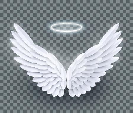 Vector 3d witte realistische gelaagde papier gesneden engelenvleugels geïsoleerd op transparante achtergrond Stockfoto