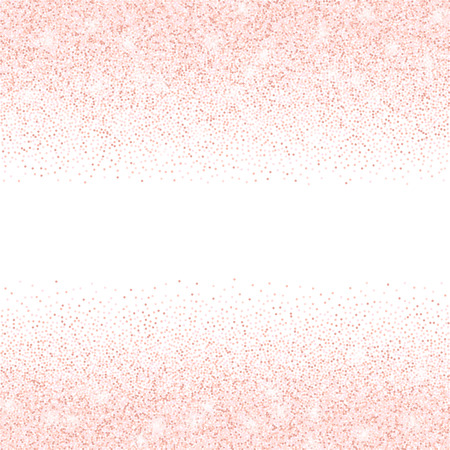 Vector falling pink glitter confetti dots rain. Sparkling glittering border isolated on white background. Party tinsels shimmer, holiday background design, festive frame