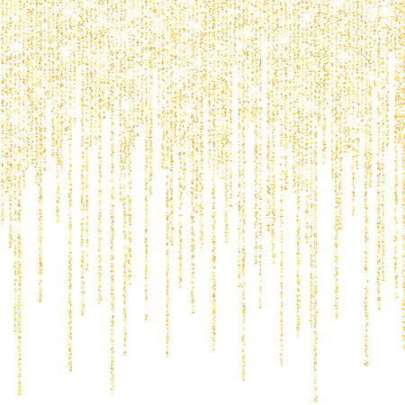 Vector falling in lines gold glitter confetti dots rain. Golden garland lights isolated on white background. Sparkling glitter border, party tinsels shimmer, holiday background design, festive frame