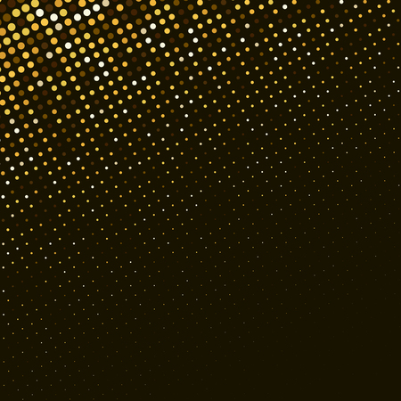 Vector abstract golden halftone pattern on black background. Gold luxury dotted design template