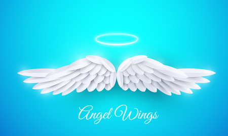 Vector 3d white realistic layered paper cut angel wings on blue background. Happy Valentines day greeting card