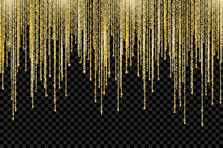 Vector falling in lines gold glitter confetti dots rain. Golden garland glittering lights isolated on transparent background. Sparkling glow border, party tinsels shimmer frame, holiday background Vector Illustration