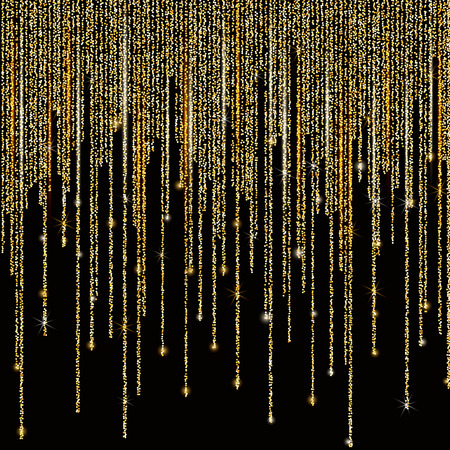 Vector falling in lines gold glitter confetti dots rain. Golden garland lights isolated on black background. Sparkling glitter border, party tinsels shimmer, holiday background design, festive frame