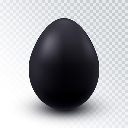 Vector Realistic Black Chicken Egg with Shadow Isolated on Transparent Background. Concept Design Element Çizim