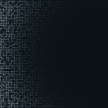 Vector abstract silver halftone pattern on black background