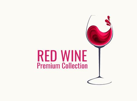 Red wine splash in glass Ilustração