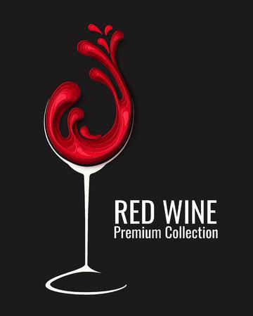 Red wine splash in glass Çizim