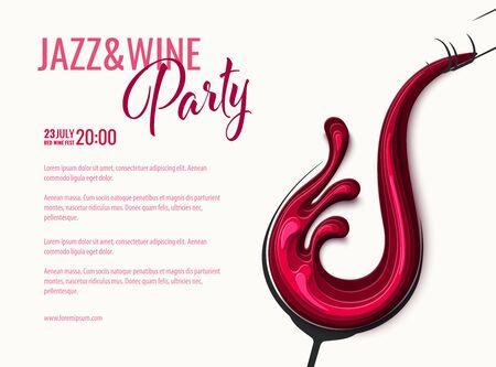 Red wine splash in glass with bottle Ilustração Vetorial
