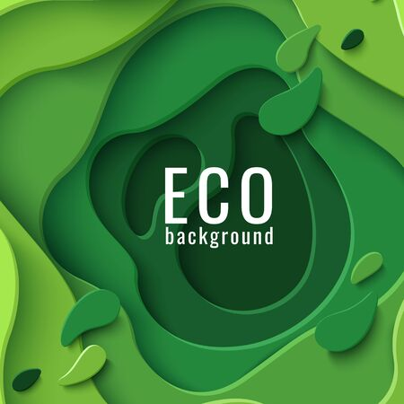 Eco abstract green paper cut background. Vector ecological banner with 3d layered paper cut. Ecology design concept for business posters, presentations, flyers, invitations.