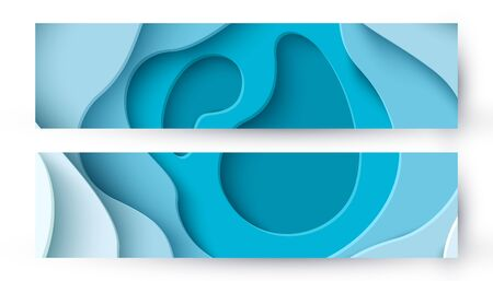 Abstract blue paper cut background with liquid shapes Vettoriali