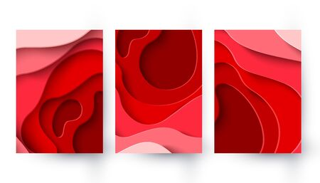 Set of three World Blood Donor Day vector paper cut banners. Abstract medical backgrounds with red paper cut blood color layers. 14 june. Hemophilia day poster