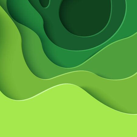 Vector eco abstract green paper cut background Çizim