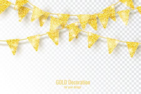 Glitter Gold Party Flags Decoration with Confetti Illustration