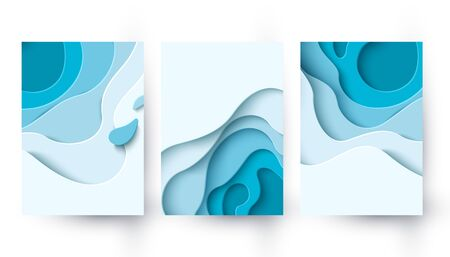 Abstract blue paper cut background with liquid shapes