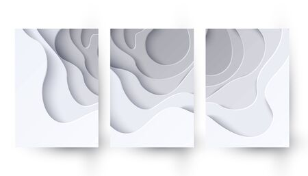 Set of two abstract white paper cut banners