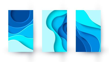 Vector vertical banners with blue paper cut layout background. Abstract water textured backgrounds. Design template for presentations, flyers, posters