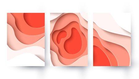 Vector abstract coral color paper cut background Illusztráció