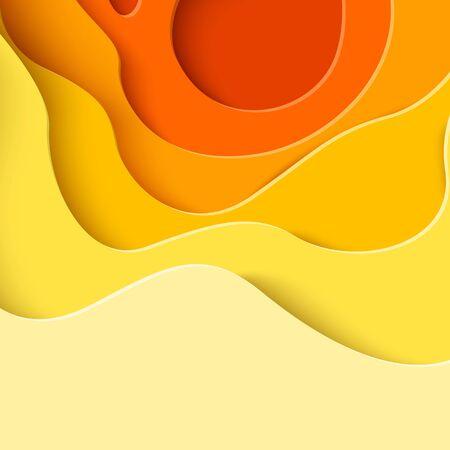Autumn sale - yellow paper cut shapes background