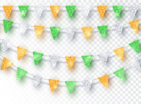 Glitter India Ireland Colors Party Flags Decoration set isolated on transparent background. Vector Green Orange Silver Flags Hanging Design Element for National Day, Holiday and Celebration Banners Ilustrace
