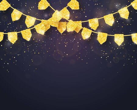 Happy Birthday - Glitter Gold Party Flags Decoration with Confetti on dark background. Vector Template for Birthday, Holiday and Celebration