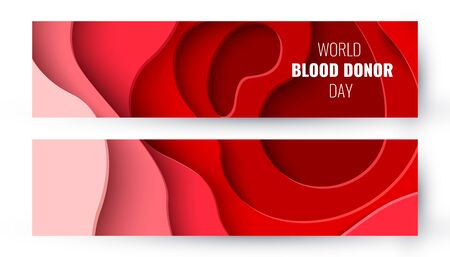 World Blood Donor Day vector paper cut background