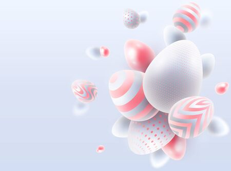 Vector Happy Easter holiday background with abstract composition of 3d Easter eggs. White easter eggs with pink decoration