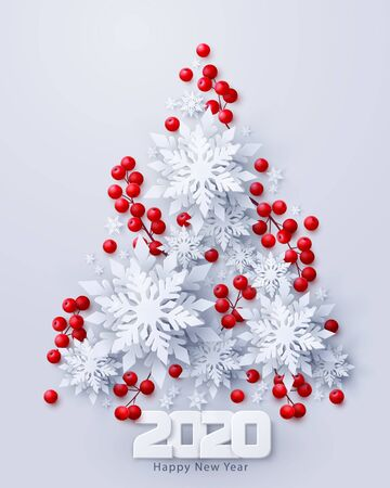 Vector 2020 Happy New Year and Merry Christmas background with paper cut snowflakes and red holly berries branches decoration in Christmas tree shape. Seasonal holidays banner