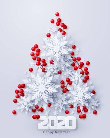 Wektor 2020 szczęśliwego nowego roku i wesołych świąt z wyciętymi z papieru płatkami śniegu i dekoracjami gałęzi czerwonych ostrokrzewów w kształcie choinki. Sezonowy baner świąteczny