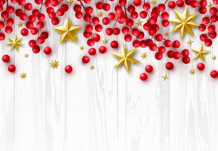 Vector Christmas Retro Background with Season Holidays Wishes and Border of Realistic Decoration of Red Holly Berry Branches, Gold Stars on White Vintage Wood Background. Flat Lay