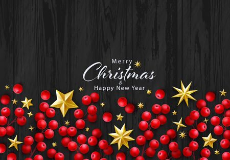 Vector Christmas Background with Season Holidays Wishes and Border of Realistic Decoration of Red Holly Berry Branches, Gold Stars on Black Wood Background. Flat Lay