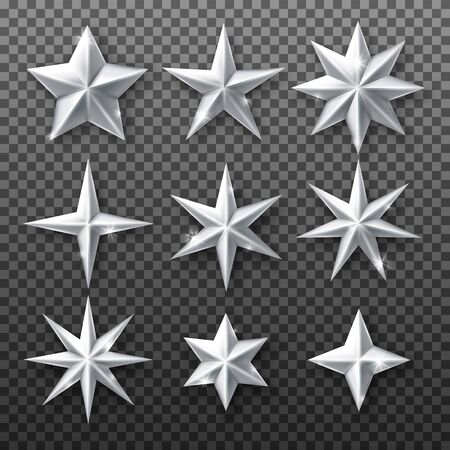 Silver star set isolated on transparent background. Vector realistic Christmas decoration white stars