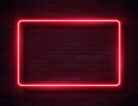 Cadre Rectangle lumineux néon pour bannière sur fond de brique Grunge vide sombre
