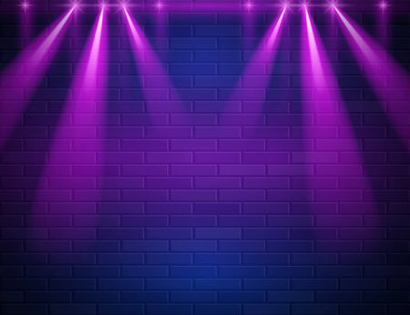 Retro Abstract Blue And Purple Neon Light Rays On Black Brick Wall With Empty Space For Text. Vector Illustration. Abstract Futuristic Neon Glowing Background