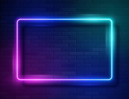 Futuristic Sci Fi Modern Neon Iridescent Glowing Rectangle Frame for Banner on Dark Empty Grunge Concrete Brick Background. Vector Vintage Purple Pink Blue Colored Lights. Retro Neon Sign