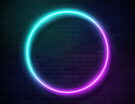 Futuristic Sci Fi Modern Neon Gradient Glowing Circle Frame for Banner on Dark Empty Grunge Concrete Brick Background. Vector Vintage Purple Pink Blue Mint Colored Lights. Retro Neon Sign