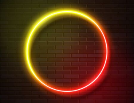 Futuristic Sci Fi Modern Neon Gradient Glowing Circle Frame for Banner on Dark Empty Grunge Concrete Brick Background. Vector Vintage Yellow Pink Red Colored Lights. Retro Neon Sign