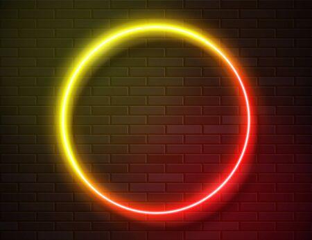 Neon Glowing Circle Frame for Banner on Dark Empty Grunge Brick Background