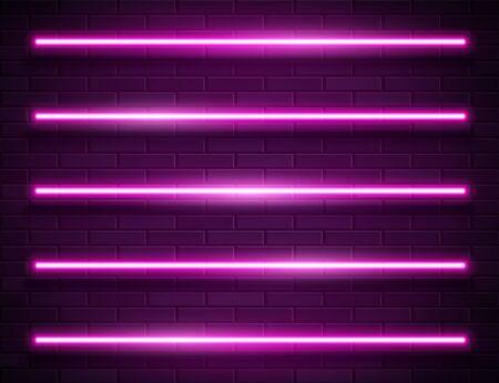 Modern Neon Glowing Lines Banner on Dark Empty Grunge Brick Background Ilustracja