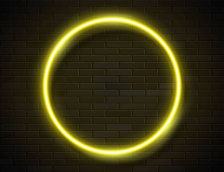 Neon Glowing Circle Yellow Frame for Banner on Dark Empty Grunge Brick Background Ilustracja