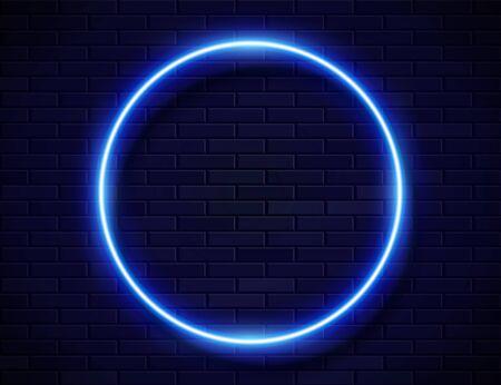 Neon Glowing Circle Blue Frame for Banner on Dark Empty Grunge Brick Background