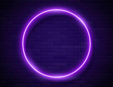 Futuristic Sci Fi Modern Neon Purple Glowing Circle Frame for Banner on Dark Empty Grunge Concrete Brick Background. Vector Vintage Violet Colored Circle Lamp. Retro Neon Sign Ilustracja