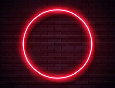 Neon Glowing Circle Red Frame for Banner on Dark Empty Grunge Brick Background Ilustracja