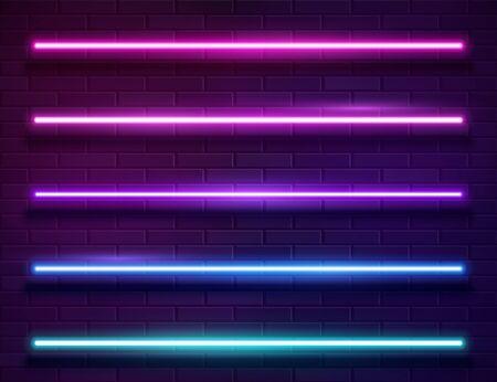 Futuristic Sci Fi Modern Neon Iridescent Glowing Lines Banner on Dark Empty Grunge Brick Background. Vector Vintage Purple Pink Blue Colored Lights. Retro Neon Sign